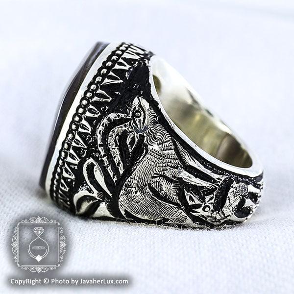 انگشتر مردانه عقیق شجری با رکاب قلم زنی _ کد : ۱۰۰۰۰۲
