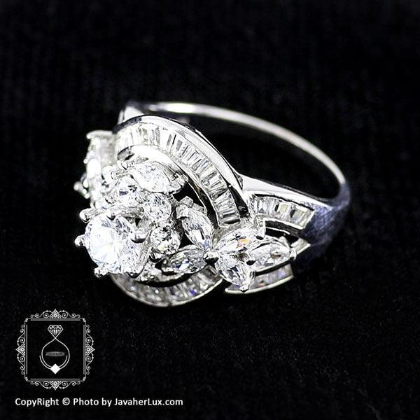 انگشتر نقره زنانه طرح سولیتر مدل پاملا _ کد : 100034