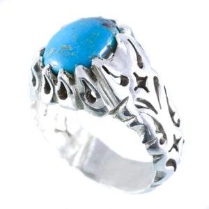 انگشتر نقره مردانه فیروزه نیشابوری مدل آرسن _ کد : 100037