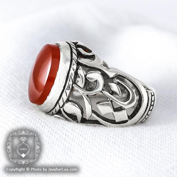 انگشتر نقره مردانه عقیق یمنی مدل لبینا _ کد : 100041