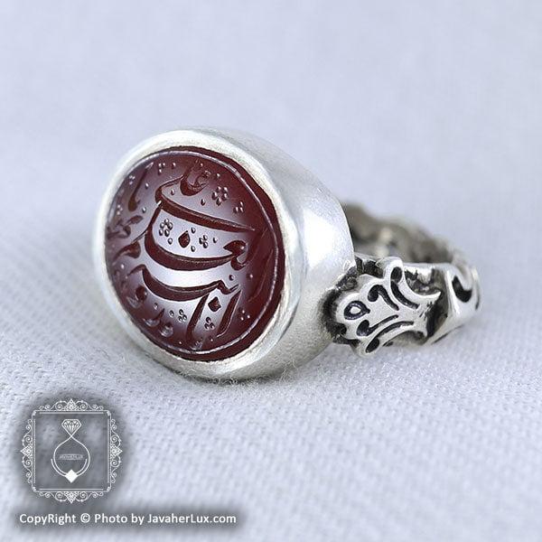 انگشتر نقره مردانه عقیق یمنی خطی انا مدینه _ کد : 100052