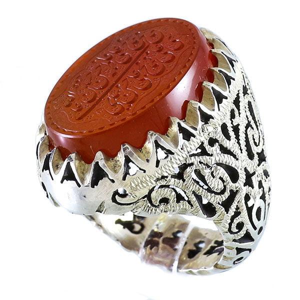 انگشتر نقره مردانه عقیق یمنی خطی ۱۴ معصوم ـ کد : 100079