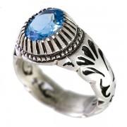 انگشتر نقره مردانه توپاز مدل آویسا _ کد : 100081