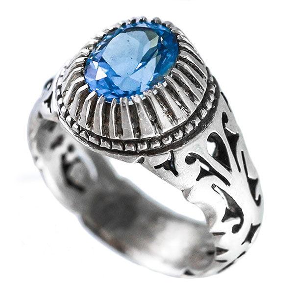 انگشتر نقره مردانه توپاز مدل ستوش _ کد : 100082