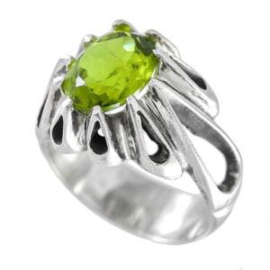 انگشتر نقره مردانه زبرجد مدل شایگان _ کد : 100083