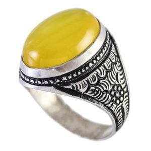 انگشتر نقره مردانه عقیق زرد مدل مانی _ کد : 100088