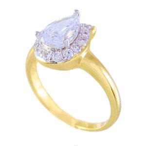 انگشتر زنانه طرح الماس برش اشکی _ کد ۲۰۰۰۰۲