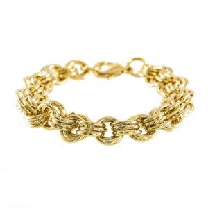 دستبند زنانه طلایی مدل سه حلقه _ کد : ۲۰۰۰۰۳