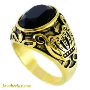 انگشتر مردانه طرح عقیق سیاه مدل کوت _ کد : 200099