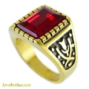 انگشتر مردانه طرح یاقوت سرخ مدل دامون _ کد : 200101