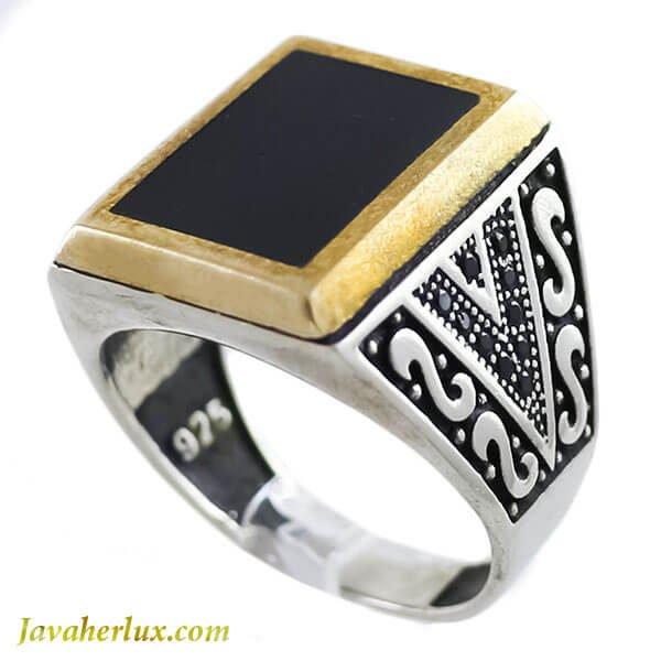 انگشتر نقره مردانه طرح عقیق سیاه مدل ماکا _ کد : 100124