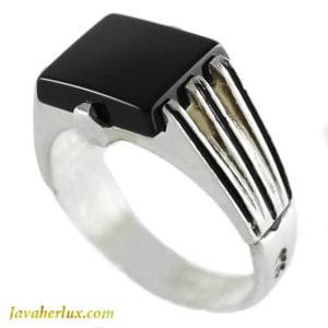 انگشتر نقره مردانه عقیق سیاه مدل روزک _ کد : 100125