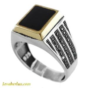 انگشتر نقره مردانه عقیق سیاه مدل مادیس _ کد : 100126