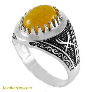 انگشتر نقره مردانه عقیق زرد مدل ماهو _ کد : 100127