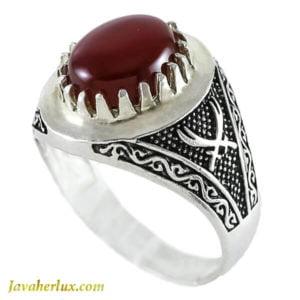 انگشتر نقره مردانه عقیق مدل مرداس _ کد : 100128