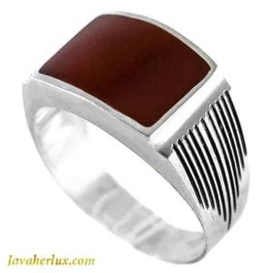 انگشتر نقره مردانه عقیق سیاه مدل ریو _ کد : 100129