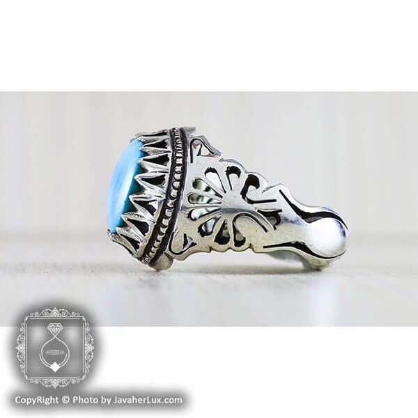 انگشتر نقره مردانه فیروزه مدل کالو _ کد : 100130