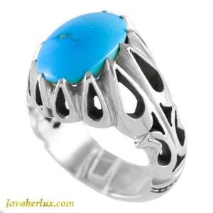 انگشتر نقره مردانه فیروزه مدل کاروند _ کد : 100131