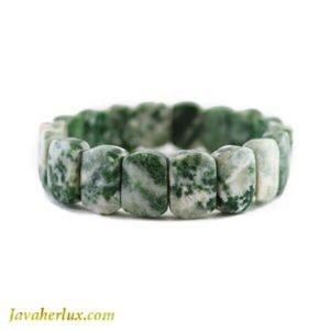 دستبند سنگ عقیق خزه ای مدل ماردین _ کد : 400023