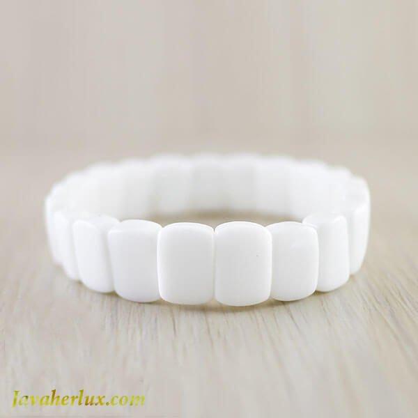 دستبند سنگ عقیق سفید _ کد : 400029