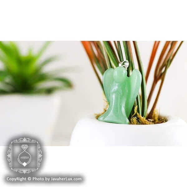 آویز سنگ آونتورین سبز مدل فرشته _ کد : 400051