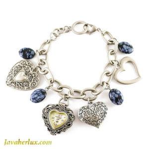 ساعت زنانه دستبندی طرح قلب نقره ای _ کد : 600037