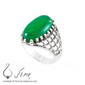 انگشتر نقره مردانه عقیق سبز مدل کازور _ کد : 100148