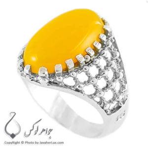 انگشتر نقره مردانه عقیق زرد مدل کارول _ کد : 100149