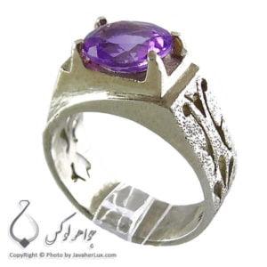 انگشتر نقره مردانه آمتیست مدل آسام _ کد : 100121