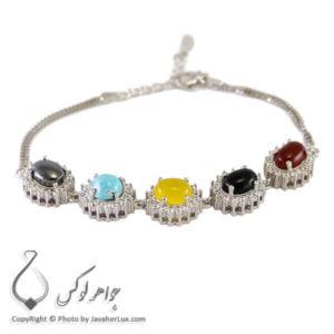 دستبند نقره زنانه چند جواهر _ کد : 100211