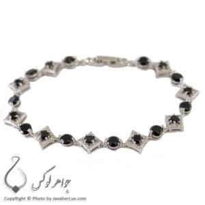 دستبند نقره زنانه عقیق سیاه _ کد : 100216