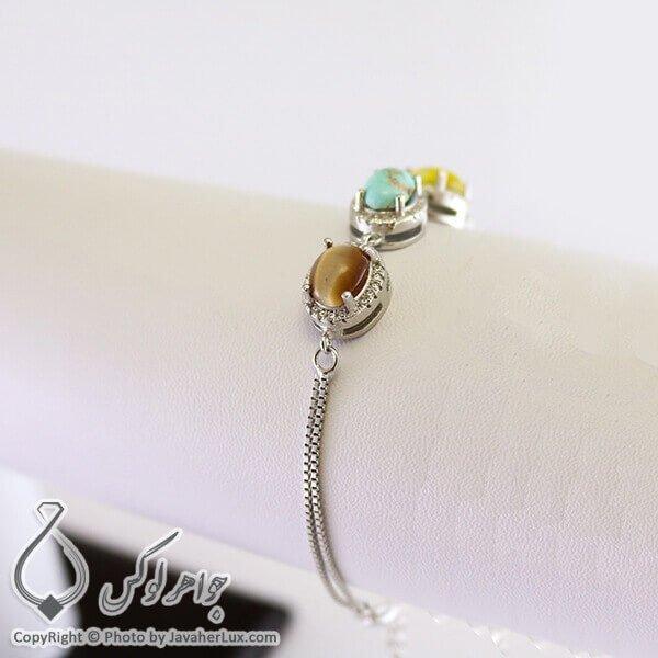 دستبند نقره زنانه چند جواهر مدل لیمفو _ کد : 100245