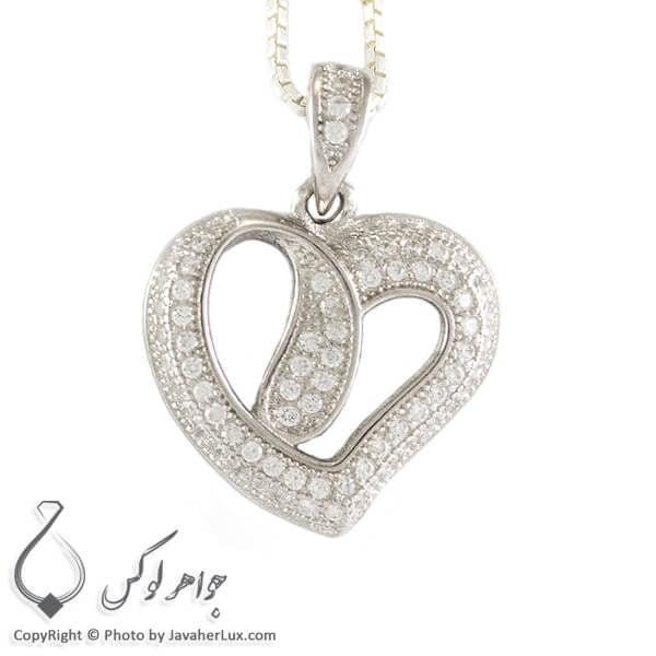 گردنبند میکروستینگ نقره زنانه مدل قلب _ کد : 100260