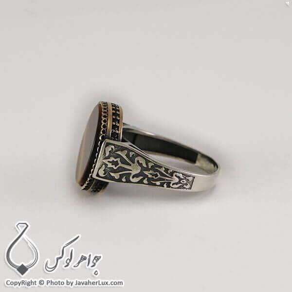 انگشتر نقره مردانه عقیق قهوه ای مدل ناتان _ کد : 100291