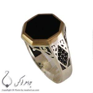 انگشتر نقره مردانه عقیق سیاه مدل دیگو _ کد : 100301