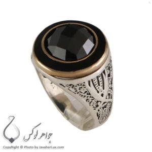 انگشتر نقره مردانه عقیق سیاه مدل فام _ کد : 100307