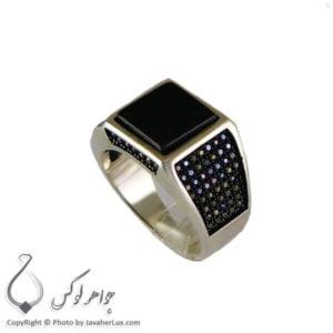 انگشتر نقره مردانه عقیق سیاه مدل چارن _ کد : 100309