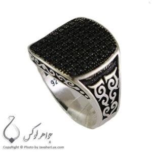 انگشتر نقره مردانه نگین اتمی _ کد : 100310