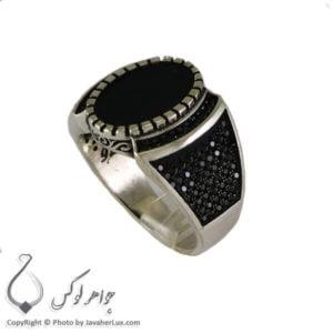 انگشتر نقره مردانه عقیق سیاه مدل چنگیز _ کد : 100311