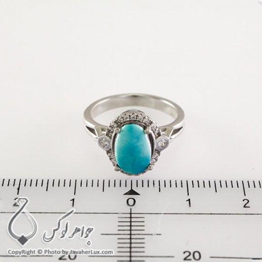 انگشتر نقره زنانه فیروزه نیشابوری مدل گلین _ کد : 100330