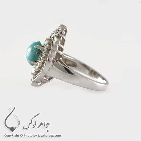 انگشتر نقره زنانه فیروزه نیشابوری مدل آنسه _ کد : 100334