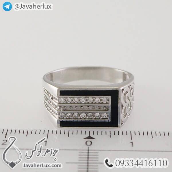 انگشتر نقره مردانه عقیق سیاه مدل دواین _ کد : 100336