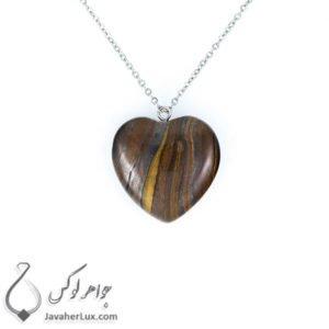 گردنبند سنگ عقیق قهوه ای تراش قلب _ کد : 400213