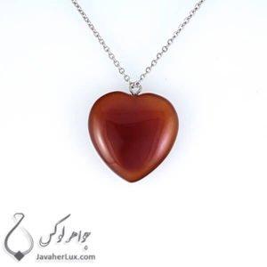 گردنبند سنگ عقیق قرمز تراش قلب _ کد : 400211