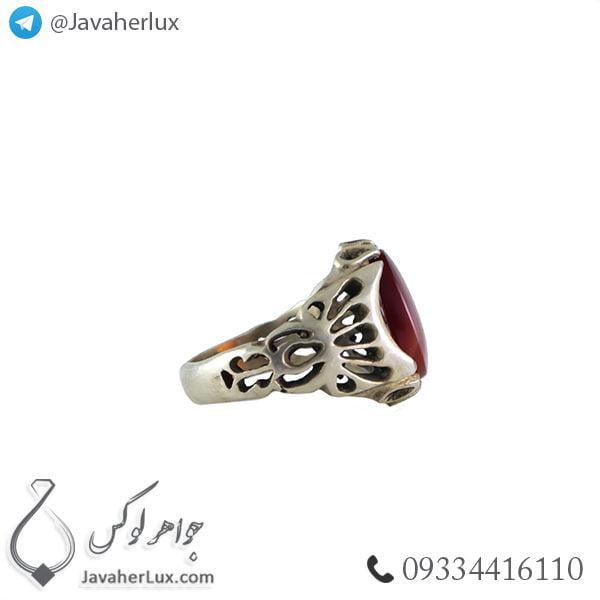 انگشتر نقره مردانه عقیق یمنی مدل اردین _ کد : 100377