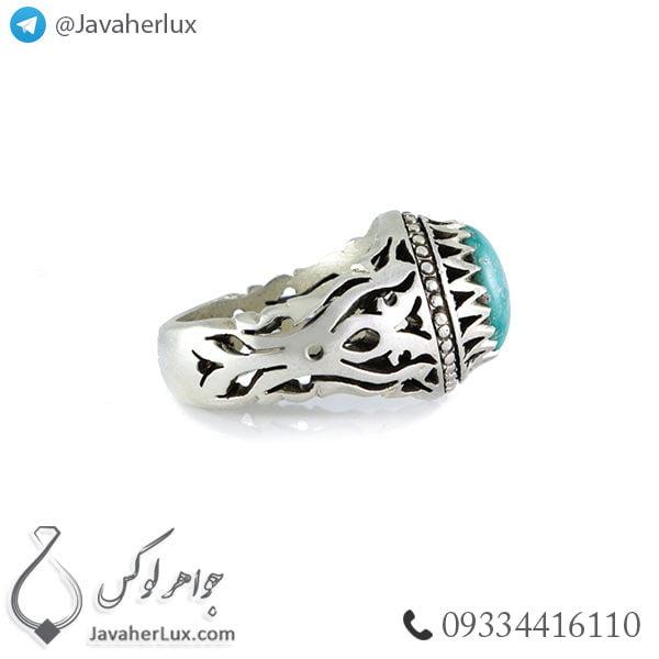 انگشتر نقره مردانه فیروزه نیشابوری مدل ارسیما _ کد : 100380