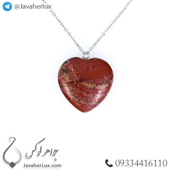 گردنبند سنگ جاسپر خونی تراش قلب _ کد : 400215