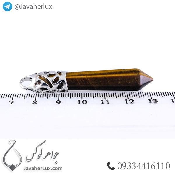 گردنبند سنگ چشم ببر مدل منشور _ کد : 400218
