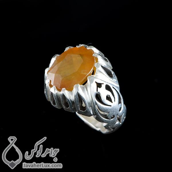 انگشتر نقره مردانه یاقوت زرد _ کد : 100402