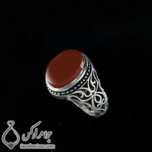 انگشتر نقره مردانه عقیق یمنی مدل ایزدداد _ کد : 100411